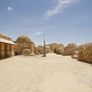 A view of the Star Wars movie set is seen at Ong Jmal, in Nefta